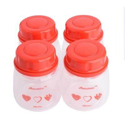 Autumnz - Breastmilk Storage Bottles - 2oz/60ml - 4pcs - Red Hearts