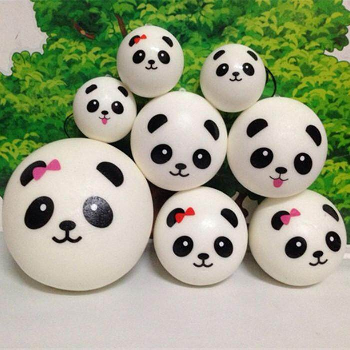 10cm kawaii soft squishy jumbo panda slow rising squeeze bun toy phone charm squishies bread -