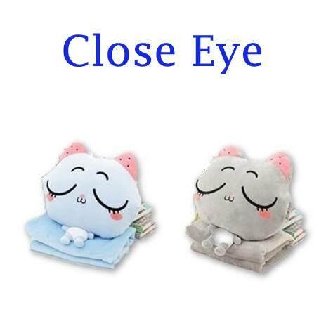 (Close Eye - Grey)2 in 1 Cute Kitty Plush Toy Comfort Pillow & Blanket Throw Cushion