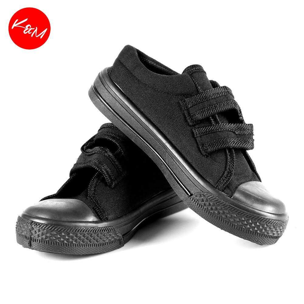 KM Children Black Velcro Strap School Shoe [M16034]