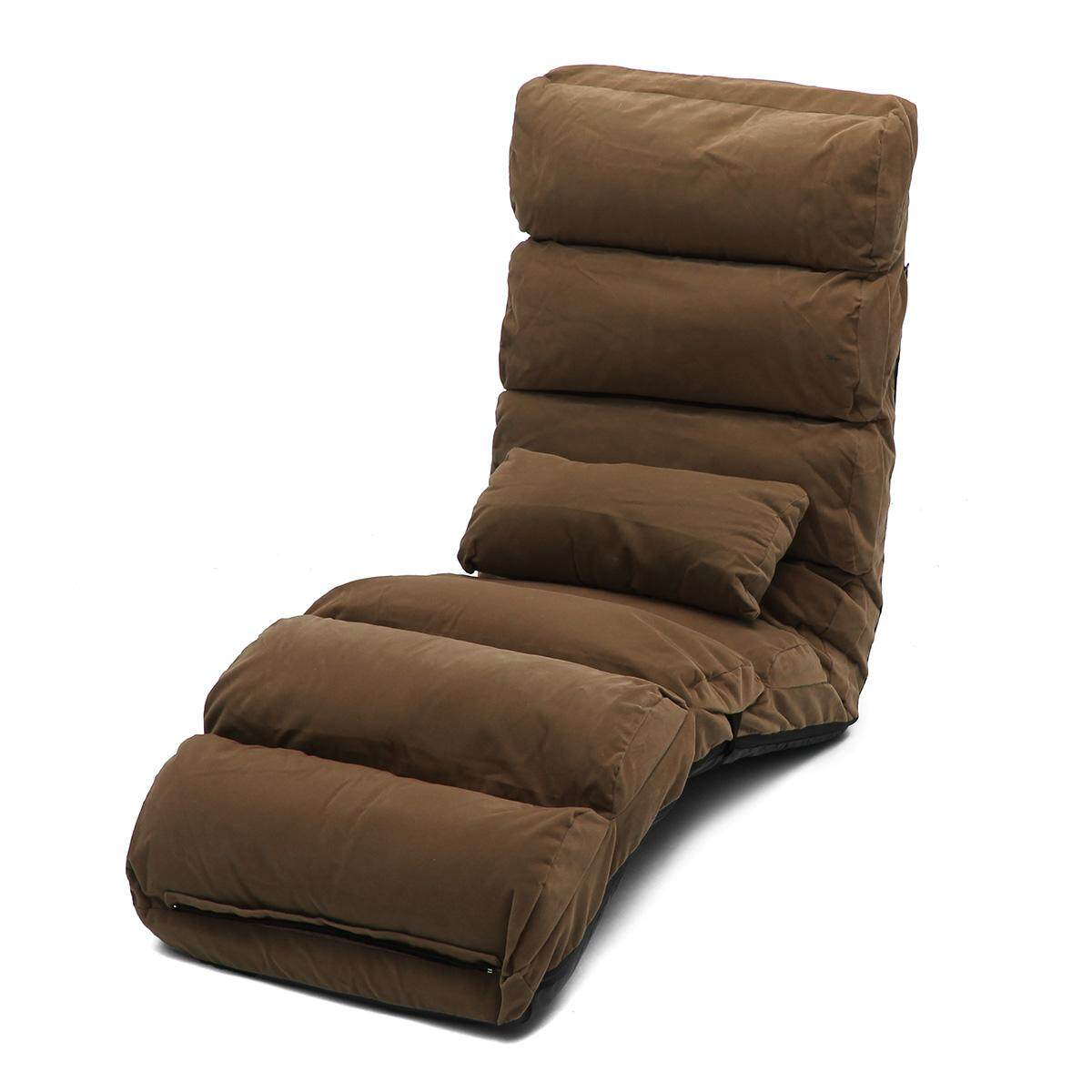 Lounge Sofa Bed Floor Recliner Folding Chaise Chair Adjustable Foldable AU Home light coffee(Standard Size)