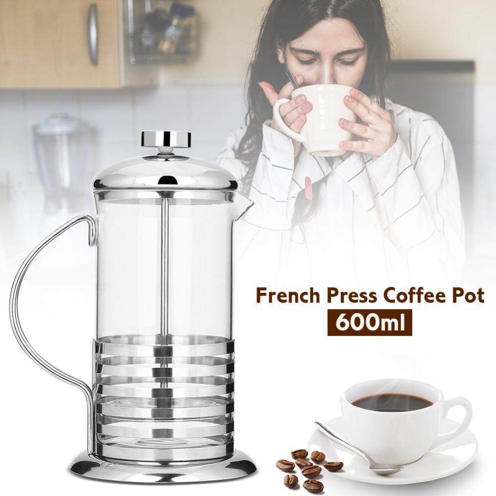 Portabel Anti Karat Kaca French Press Kopi Cangkir Pot Plunger Tea Maker (600 Ml)-Internasional