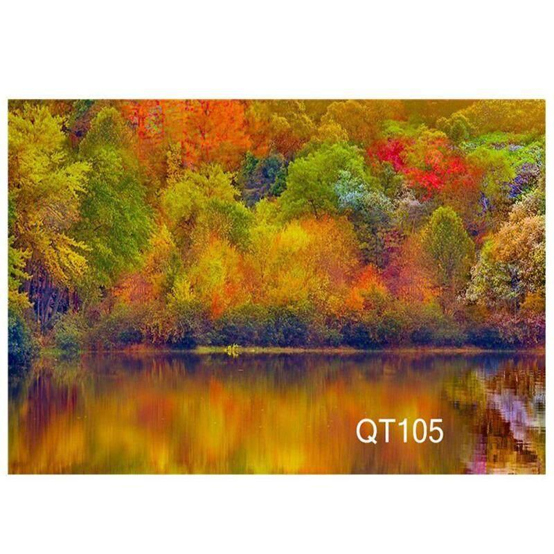 7x5ft Thick Woods Near the Lake Fall Scenery Vinyl Photography Backdrops Photo Backdrops Studio Props