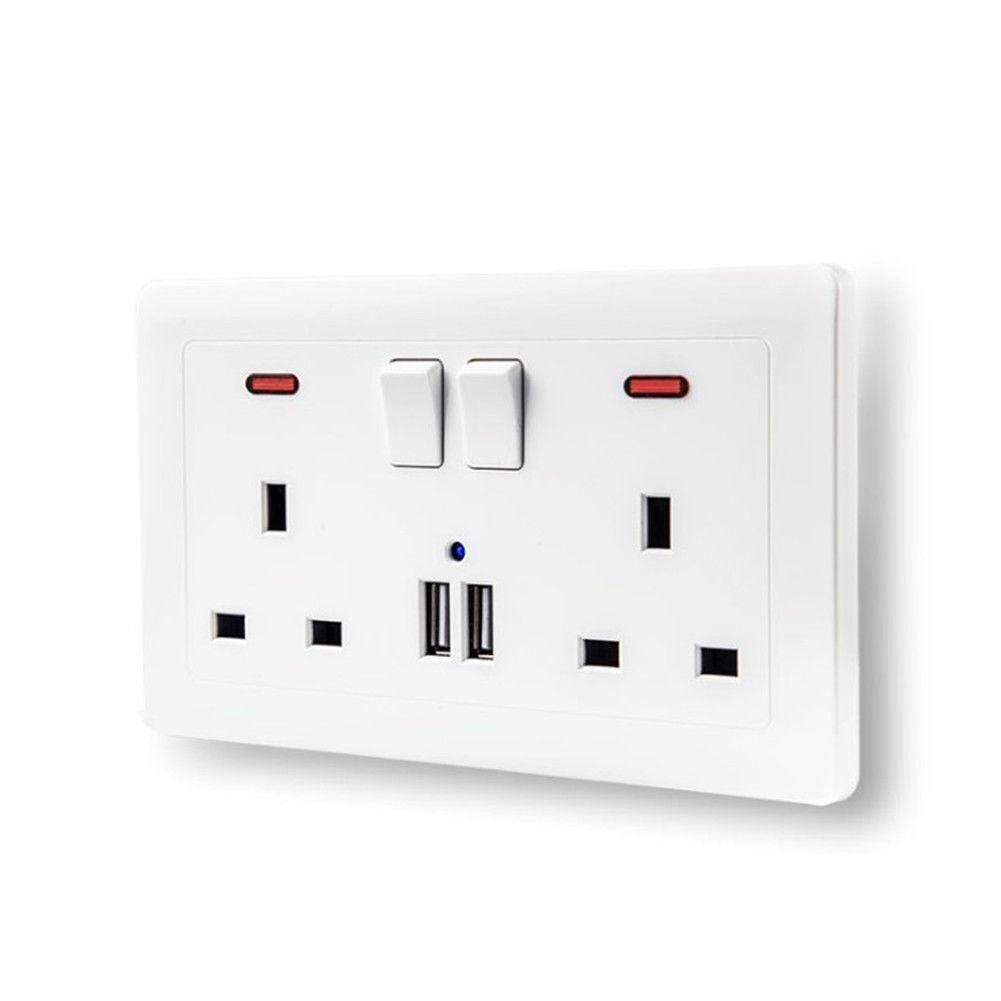 Stay Ac 13a Usb Wall Socket Universal Wall Socket Panel With 2 Usb Port Plug Charger Switch Power Outlet Uk By Stay.