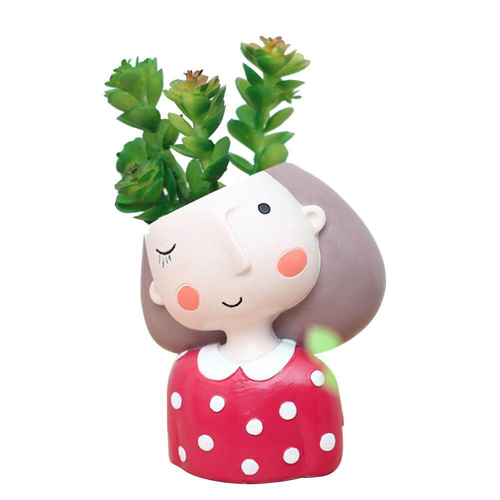 Vankel Flower Pots Creative Resin Cute Characters Indoor Crafts Potted Ornaments Multicolor