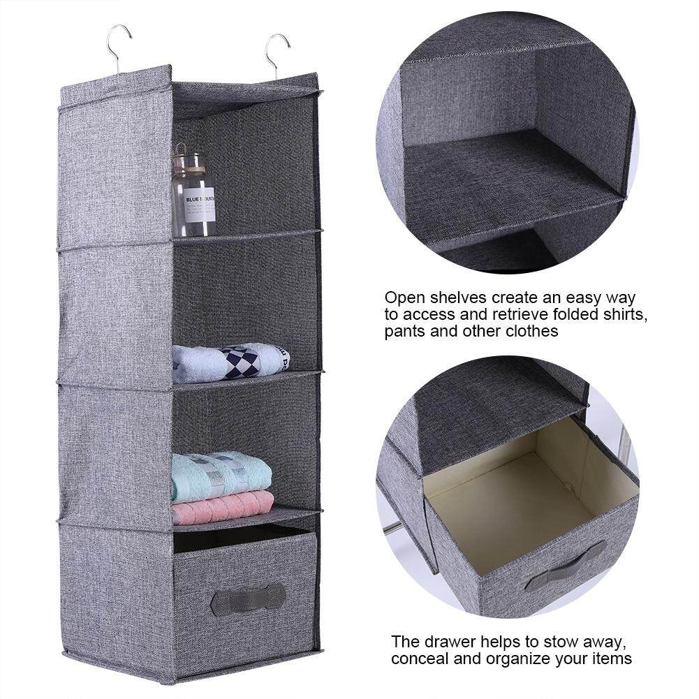 Hanging Closet Organizer Clothes Clothing Storage Holder 4 Shelves with Drawer (Gray)
