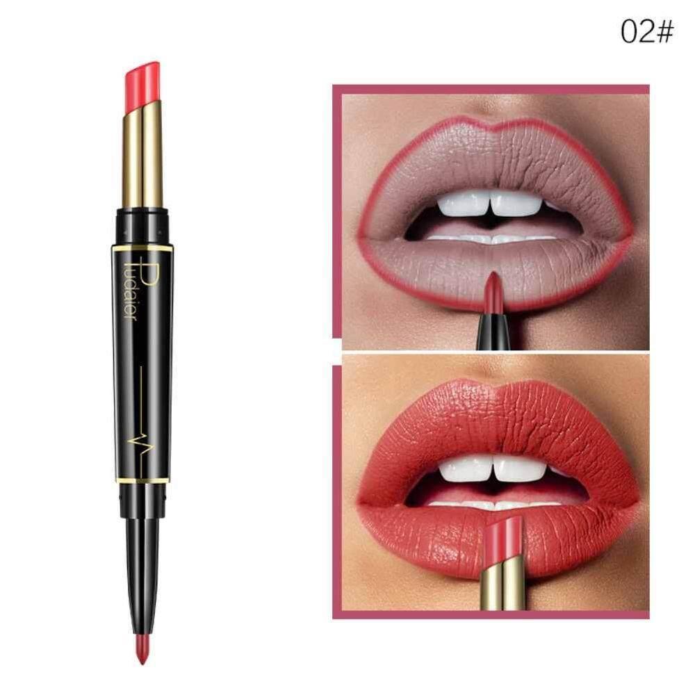 Lissng 1 PC 2 In 1 Double Kepala Lipstik Pensil Penggaris Bibir Tahan Air Tahan Lama Pigmen Nude Warna Tata Rias Lipliner Kosmetik #02