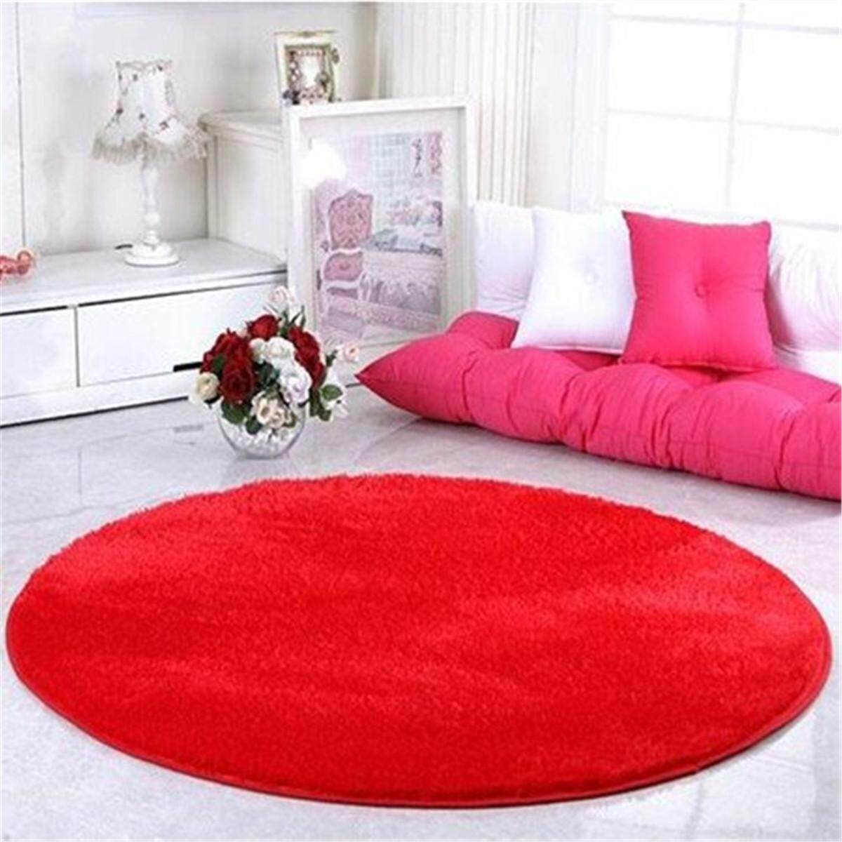 Red Anti-Skid Fluffy Shaggy Area Rug Home Living Room Carpet Floor Round Mats#100cm