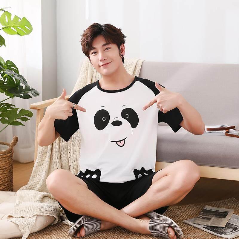 bd3baab54b Cotton Male Pajamas Short Sleeve O Neck Pullover Pajama Set Loose 5XL  Sleepwear Suit Cartoon Panda
