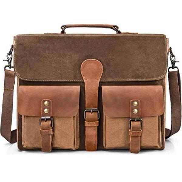 fb42f5708e Mens Messenger Bag Vintage Genuine Leather Laptop Briefcase 15.6 Inch  Waterproof Waxed Canvas Satchel Shoulder Bag