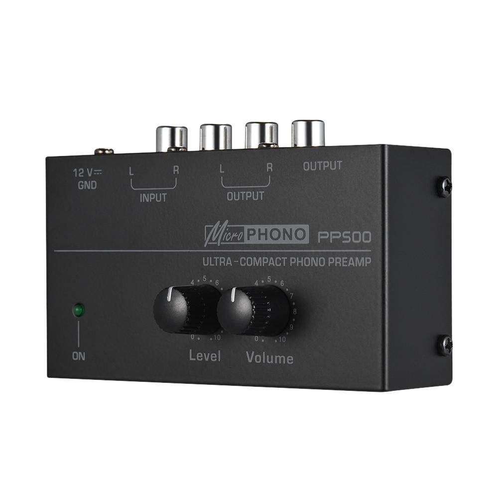 Ultra-compact Phono Preamp Preamplifier with Level & Volume Controls RCA Input & Output 1/4 TRS Output Interfaces