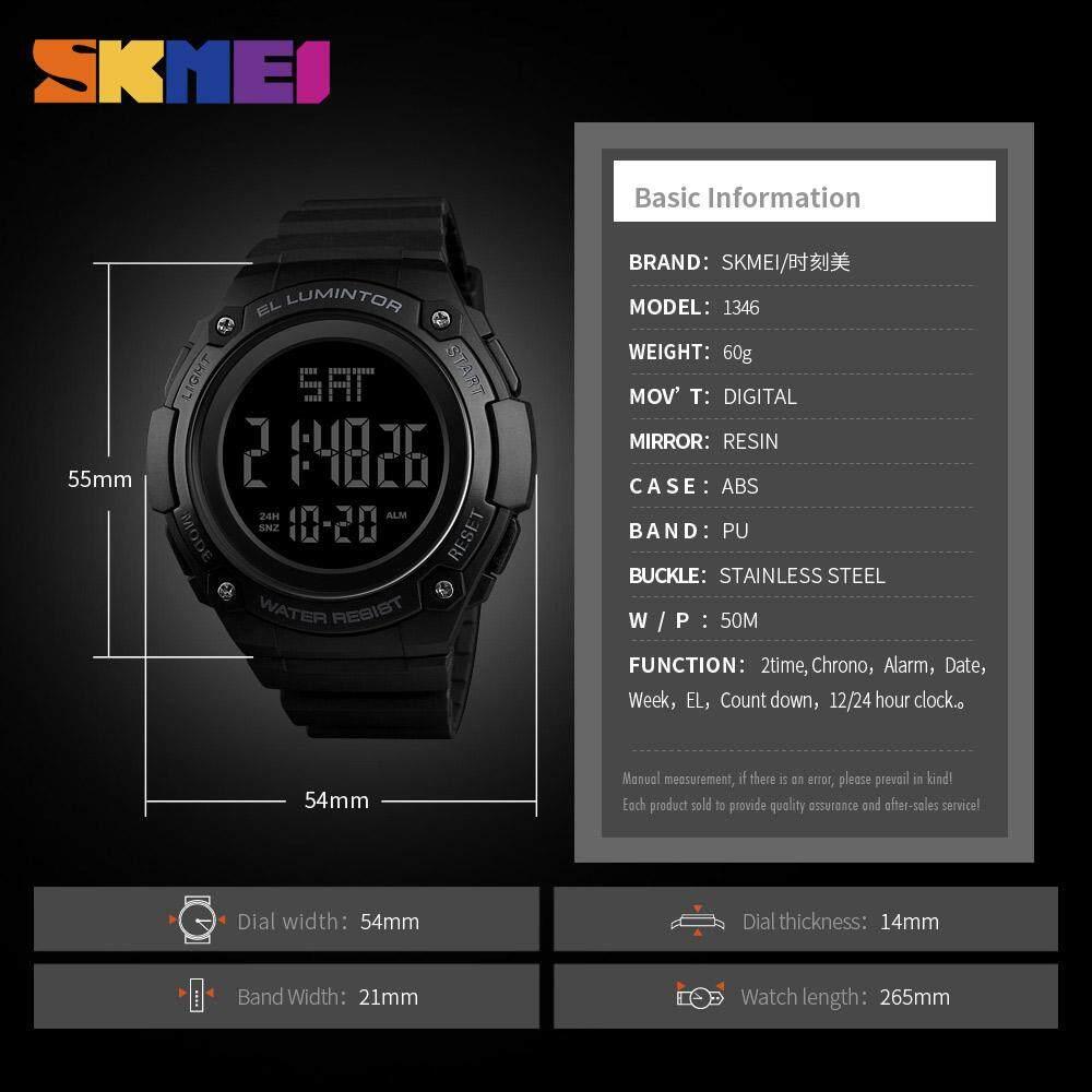 ... SKMEI 1346 Pria Jam Tangan Olahaga Outdoor Tahan Air LED Elektronik Jam Digital Tanggal Jam Besar