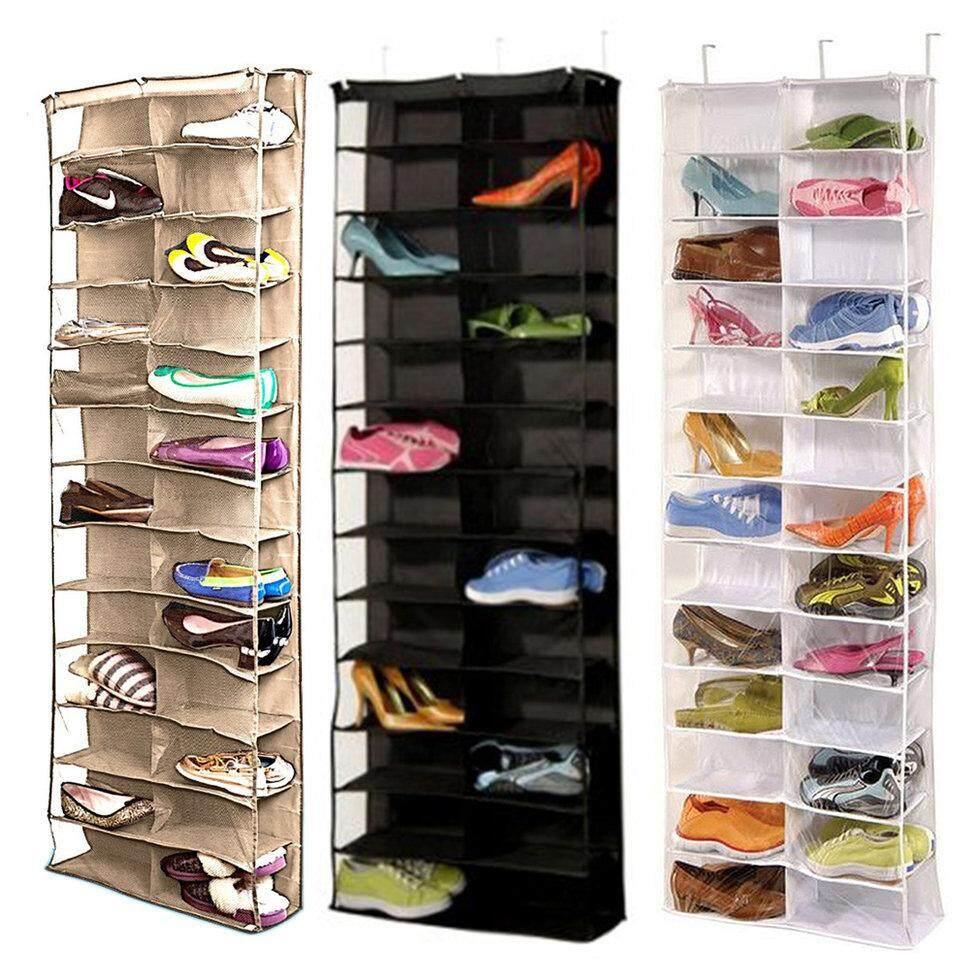 Detail Gambar GOFT Shoe Rack Storage Organizer Holder Folding Hanging Door Closet 26 Pocket White Terbaru