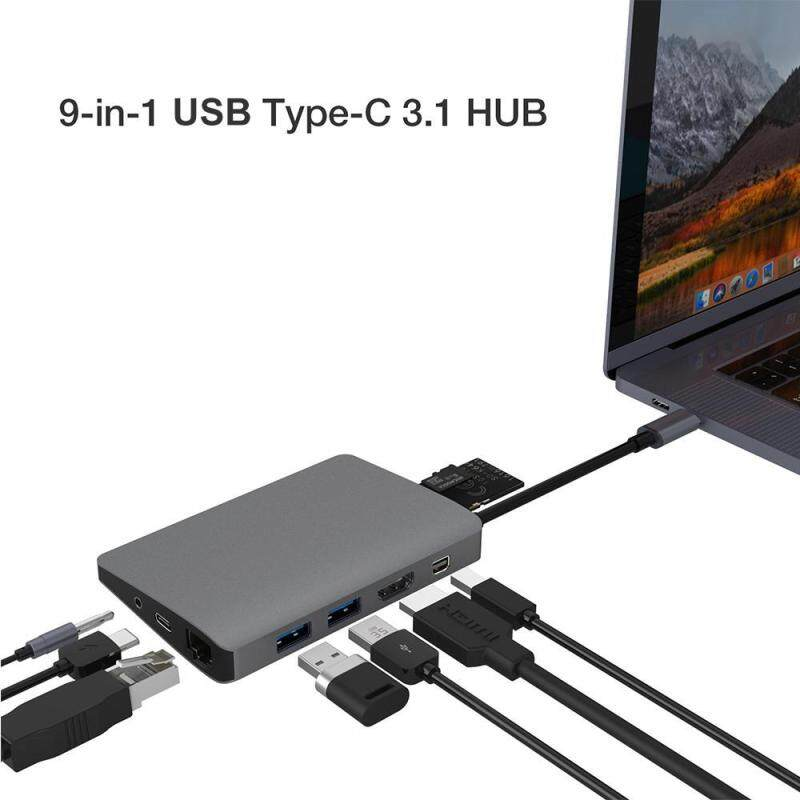 niceEshop USB C Hub, 9 In 1 USB C Adapter 3.1 With Type C Charging Port, 4K HDMI, 2 X USB 3.0 Ports, SD/TF Card Reader, 3.5mm Audio Jack, Mini DP, 1000M RJ45 Ethernet Port, For MacBook Pro, Chromebook