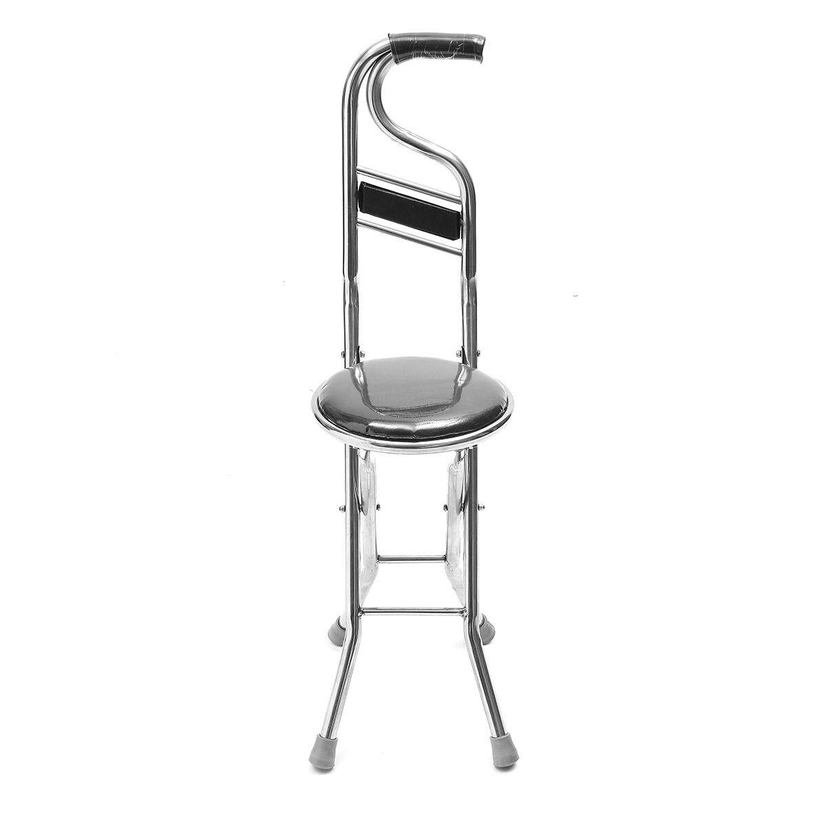 Stainless Steel Portable Folding Walking Stick Chair Seat Stool Travel Cane # Black