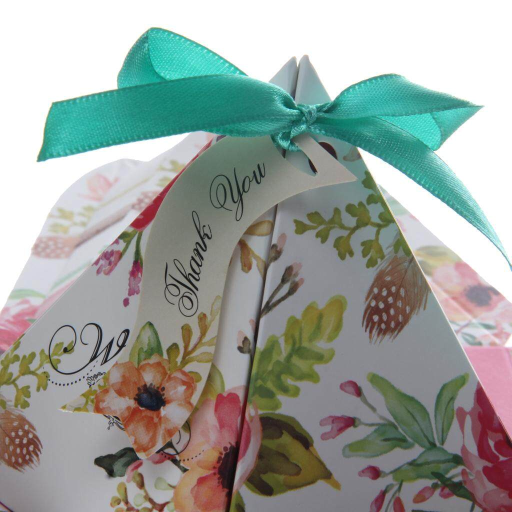 BolehDeals 50PCS Floral Printed Triangle Sweet Candy Gift Boxes with Ribbons Wedding Engagement Baby Party Favour