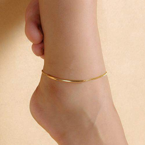 b4af3da770c9a Gravitational wave Women Golden Tone Elbow Pipe Chain Anklet Bracelet  Barefoot Sandal Foot Jewelry