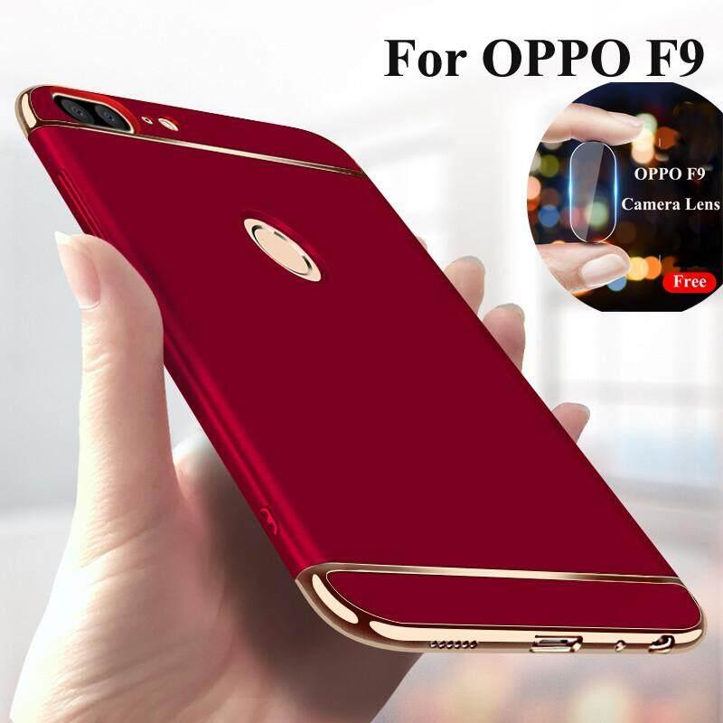 Untuk OPPO F9 3 In 1 Casing Handphone Shcokproof Penutup Belakang dengan Lensa Kamera Kaca