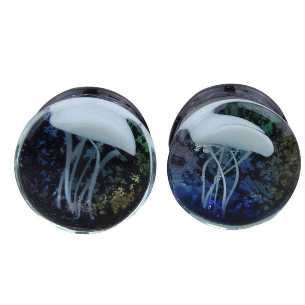 2pcs Women/Men Glass Ocean Opal Ear Extender Plug Studs Body Piercing Earrings(Black