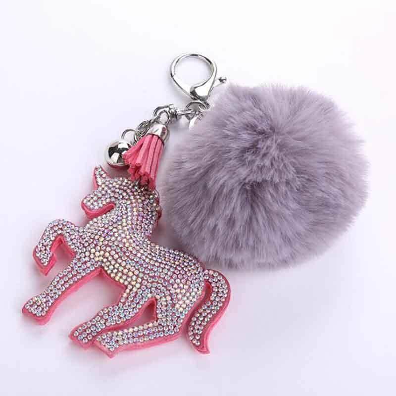 Rainbow Crystal Plated Unicorn Keychain Keyring Pendant Handbag Accessory Purse