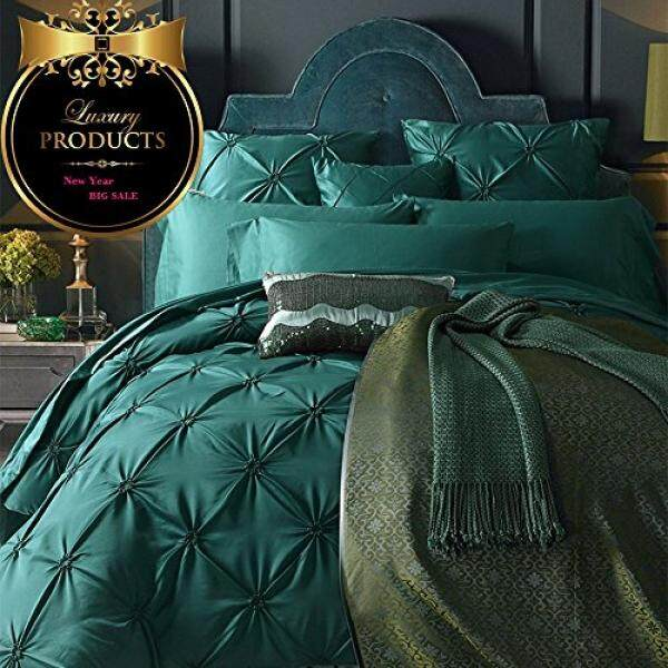57a2f8b8c4 AMWAN ON SALE Vintage Green Luxury Bedding Set Queen Silk Cotton Solid  Duvet Cover Set European Style Pinch Pleated Bedding Cover Set Smooth  Wedding Duvet ...