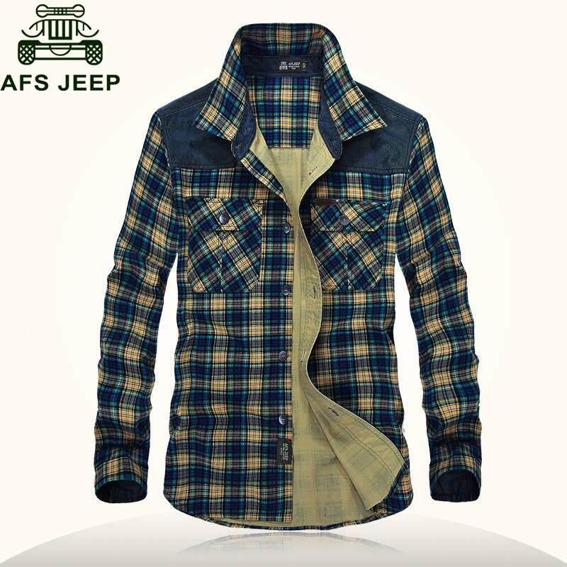 b4ffef85dfab AFS JEEP Spring Autumn Plaid Shirt Men Long Sleeve Turn-down Collar 100%  Cotton