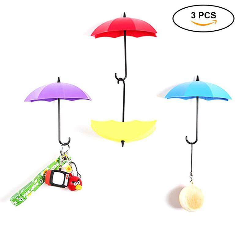 leegoal Free Nail Glue Umbrella Shape Wall Hooks Three Containers, Small Decorative Objects Single Hook Creative Stick Hook