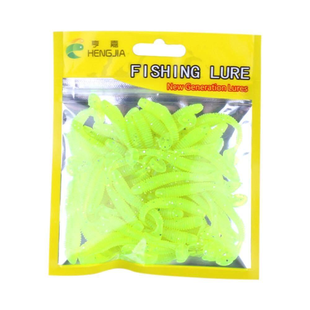 Jayaskyie 50 Pcs Umpan Ikan Plastik 5 Cm Silikon Cacing Umpan Umpan Pancing dengan Garam Memancing