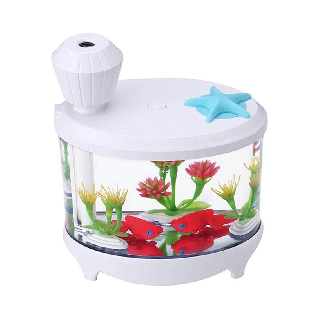 Creative crystal transparent fish tank aquarium lamp mini home air purifier USB humidifier white