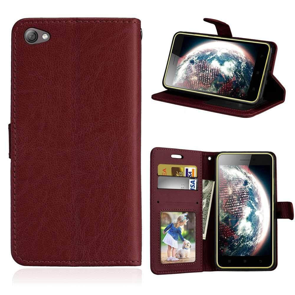 Case for Lenovo S60 S60T PU Leather Wallet Flip Stand Cover with ID Card Pockets Slots