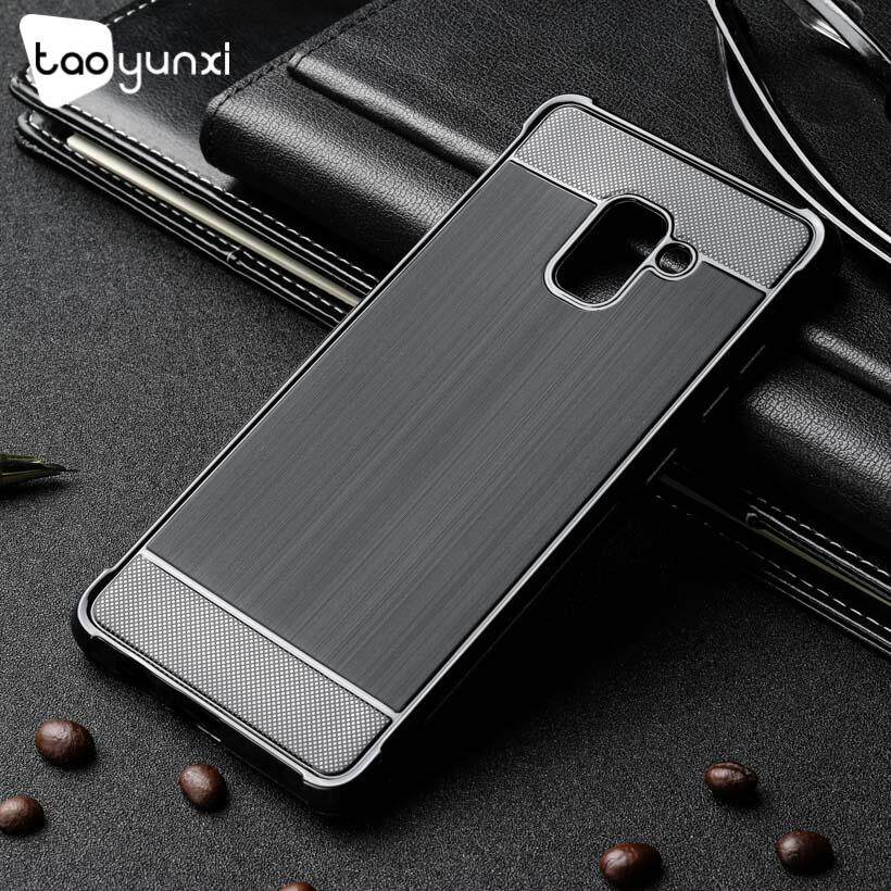 TAOYUNXI Luxury Soft TPU Phone Cases For Samsung Galaxy A7 2018 Duos with dual-SIM card slots A730F Global Single-SIM A730F/DS Global Dual-SIM 6.0 inch New Carbon Fiber Drawing Drop Resistance Silicone Covers shell Black - intl