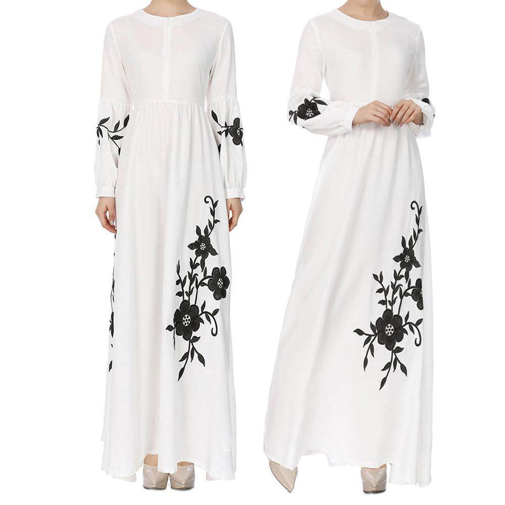 Muslim Dresses For Sale Women Dress Online Brands Prices Fashionable Vintage Floral Print Fashion Trend Womens Chiffon Long Sleeve Maxi Intl