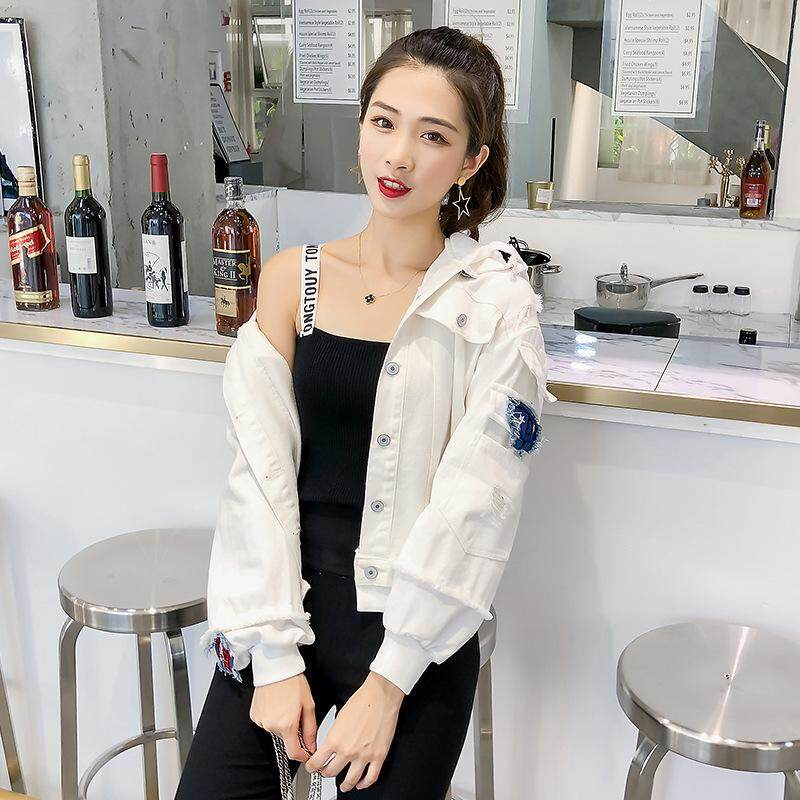 2018 Fashion Womens Jackets Autumn New Style Loose Jacket Hooded Clothes Casual Denim Jacket By Cute 1.