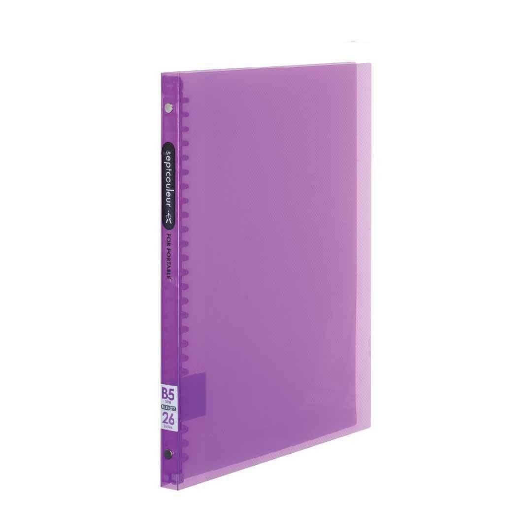 SEPT COULEUR B5, 26 Holes, 60 Sheets, 15 Spine Width -  Light Purple