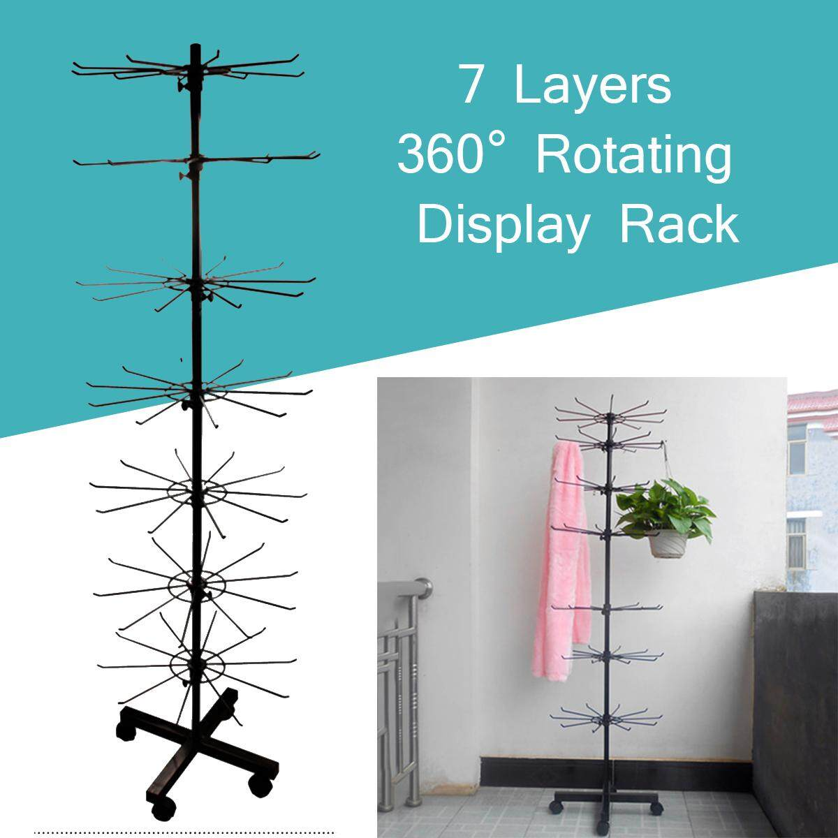 NEW BLACK TALL SEVEN LEVEL TIER SPINNING store FLOOR DISPLAY RACK W WHEELS wire - intl