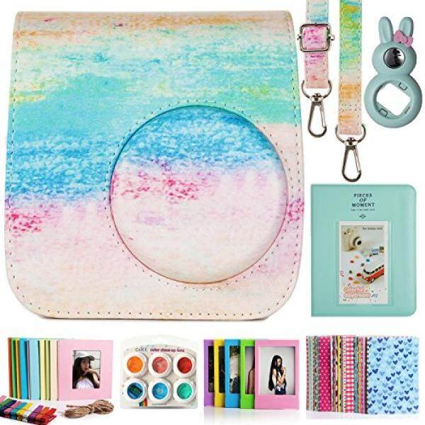 CAIUL Compatible Mini 7s Case Bundle with Album, Filters & Accessories for Fujifilm Instax Mini 7s and Polaroid PIC-300 (Rainbow Mist, 7 Items) - intl