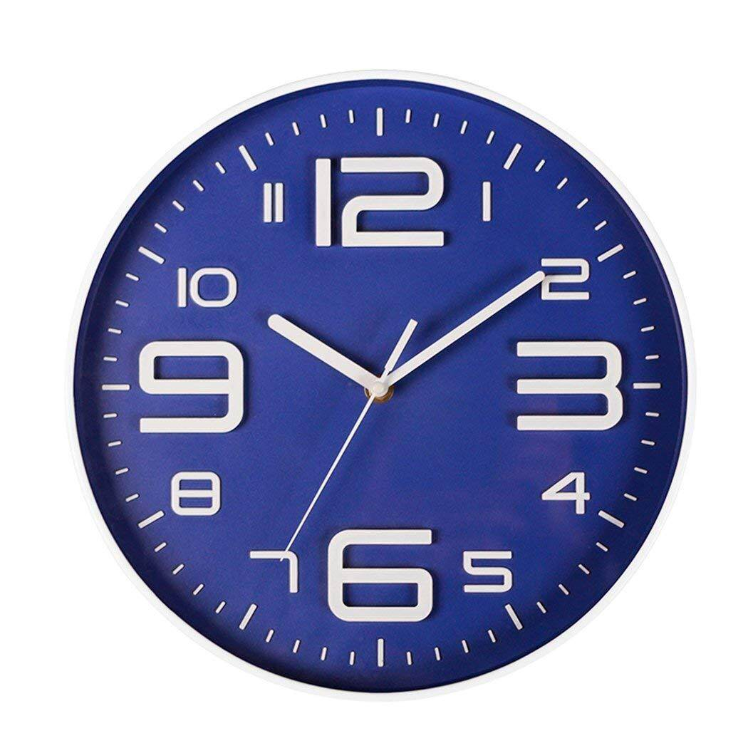 Indoor Big 3D Number Quartz Silent Non Ticking Wall Clock Quiet Sweep Movement Decorative Battery Operated 10 Inch Blue Free Shipping
