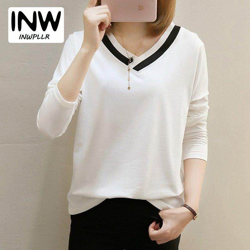 d914d88d0ad INWPLLR Female Tops Tees V-neck Patchwork Cotton T-shirts Korean Fashion  Long Sleeve