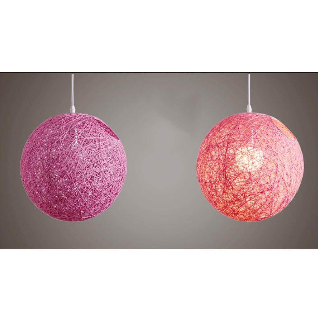 BolehDeals Rattan Wicker Ball Globe Ceiling Pendant Lamp Shade with Hole 20cm pink