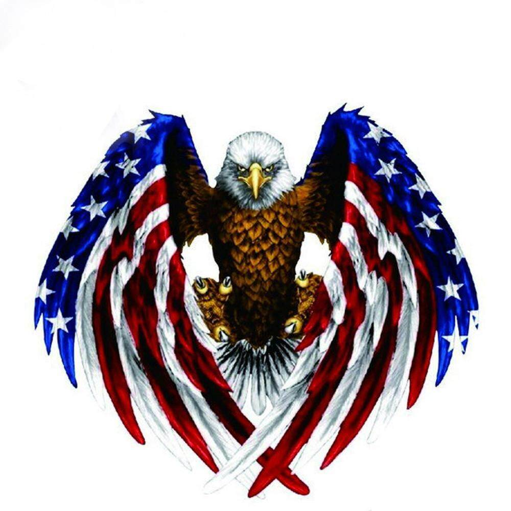 Car Decal Flying Hawk Auto Truck Hood Side Eagle USA Flag Sticker