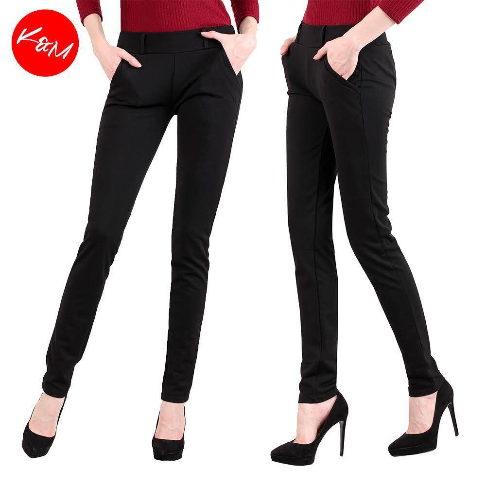 KM Plus Size Women Elastic Black Pants [M13320]