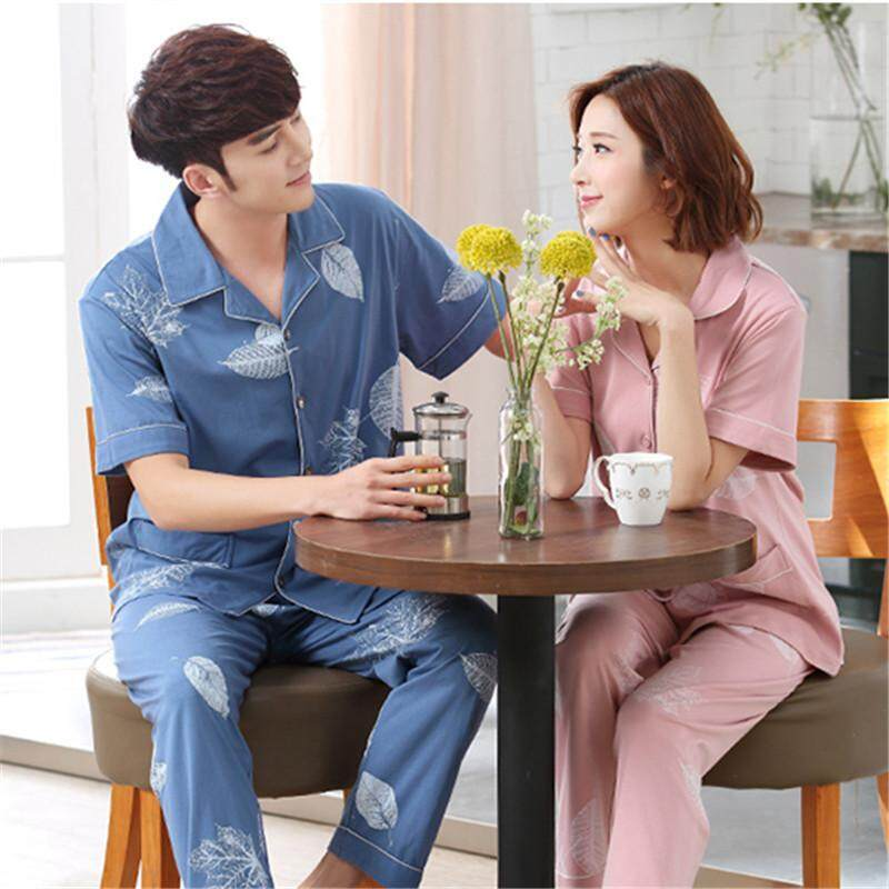 2018 new knitted cotton couple pajamas thin summer men s and women s  cardigan short sleeve trousers home 2d0f4404a