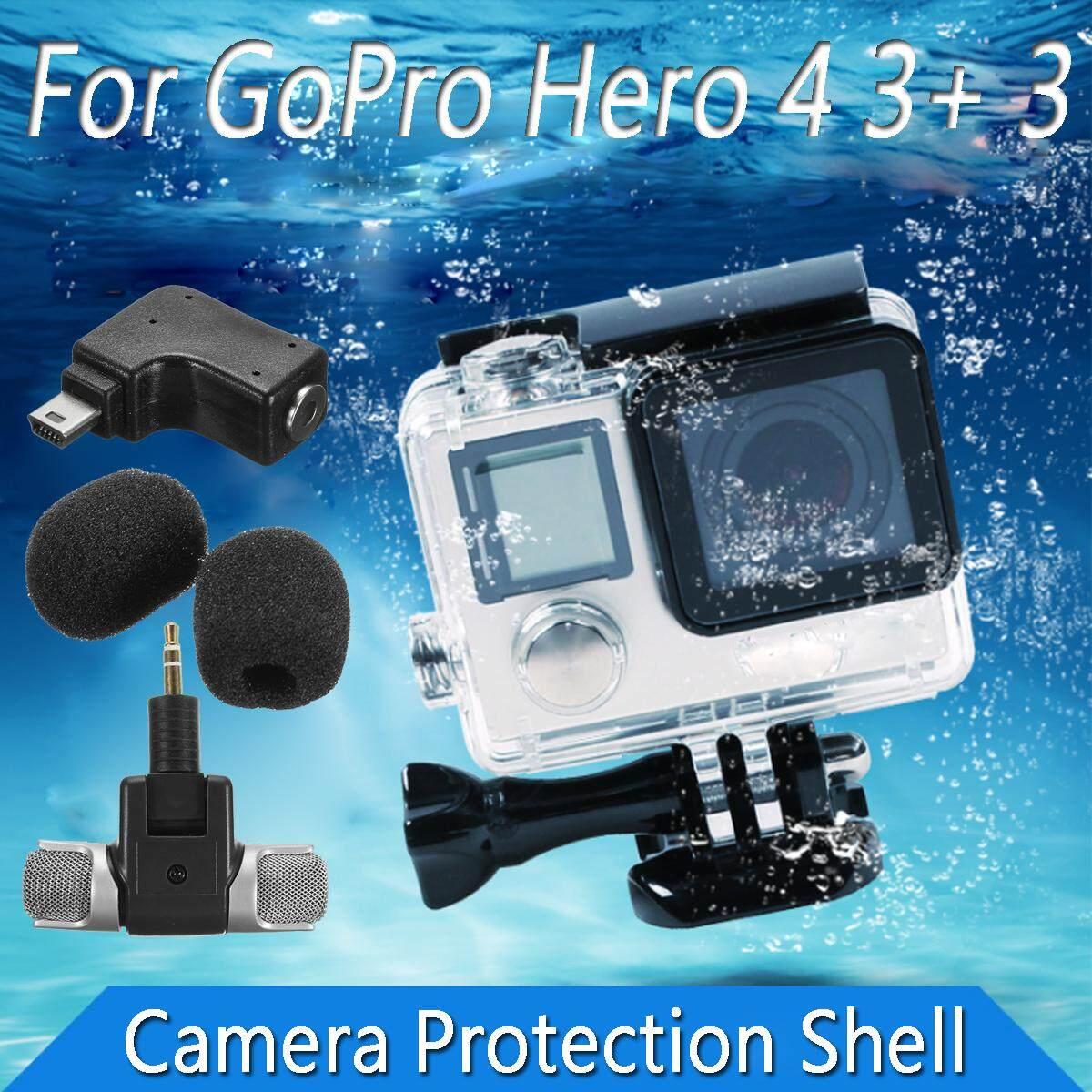 Side Open Skeleton Housing Case + Microphone + Adapter Kit for GoPro Hero 4 3+