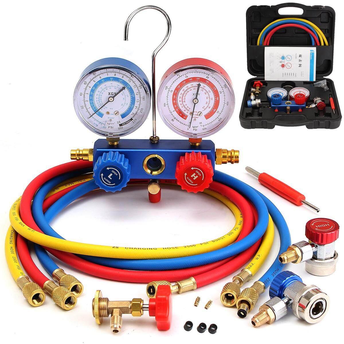 R12 R22 R134a 410a R404z HVAC 3-way AC Refrigeration Kit A/C Manifold Gauge  Set