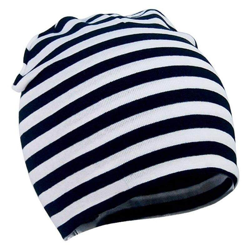 Giá bán Baby Toddler Cotton Soft Cute Knit Kids Hat Beanies Cap Colour #2: Black and white stripes - intl