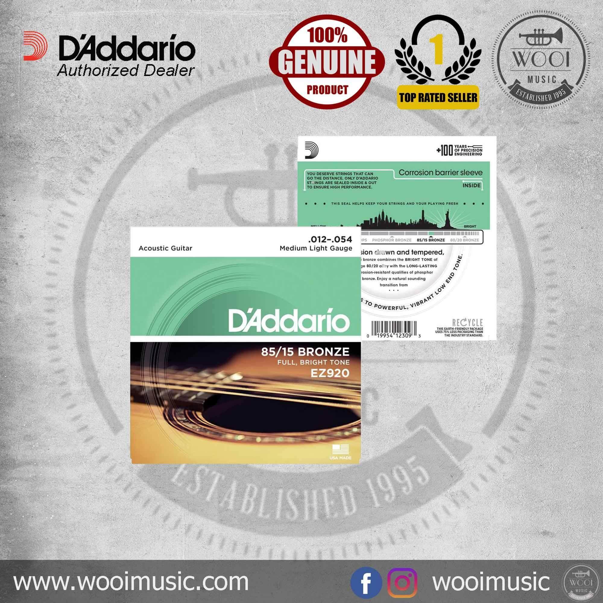 DAddario EZ920 85/15 American Bronze Medium Light Acoustic Guitar Strings (012-054)