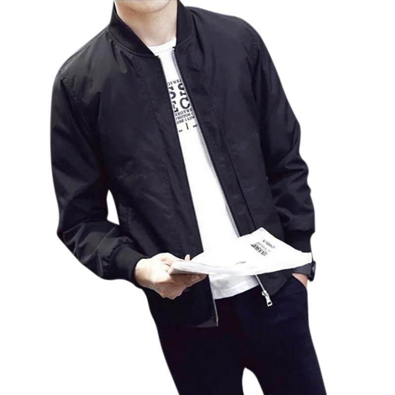 28dac5d32586e Qimiao Men Casual Solid Color Zipper Jacket Windproof Baseball Jacket  Sports Coat