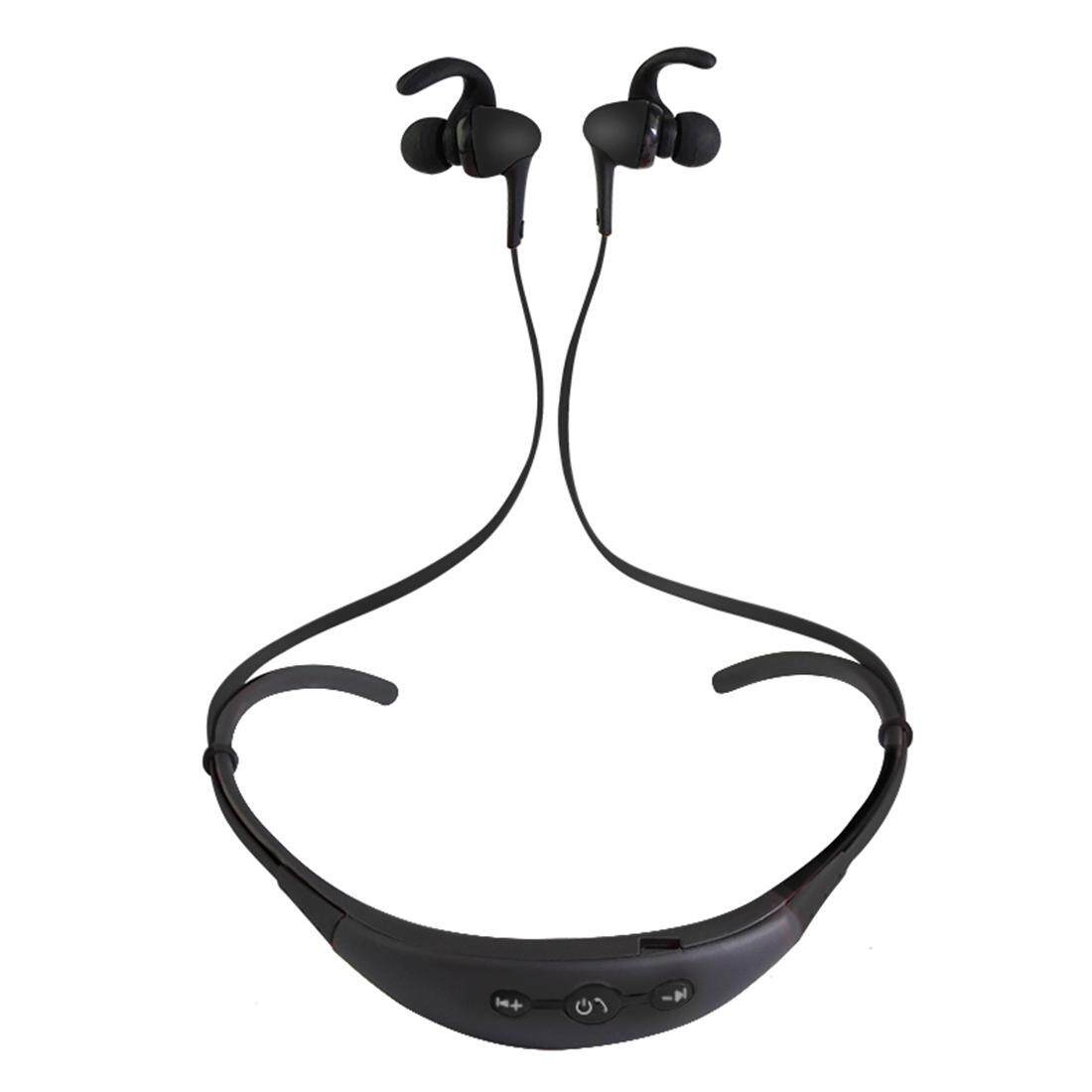 BT-54 หูฟังลวด Control วงดนตรีกีฬาไร้สายหูฟังบลูทูธพร้อมไมโครโฟนหู Hook, สนับสนุนการปล่อยมือ Call, สำหรับ iPad, iPhone, GALAXY, Huawei, Xiaomi, LG, HTC และโทรศัพท์สมาร์ทอื่นๆ (สีดำ)