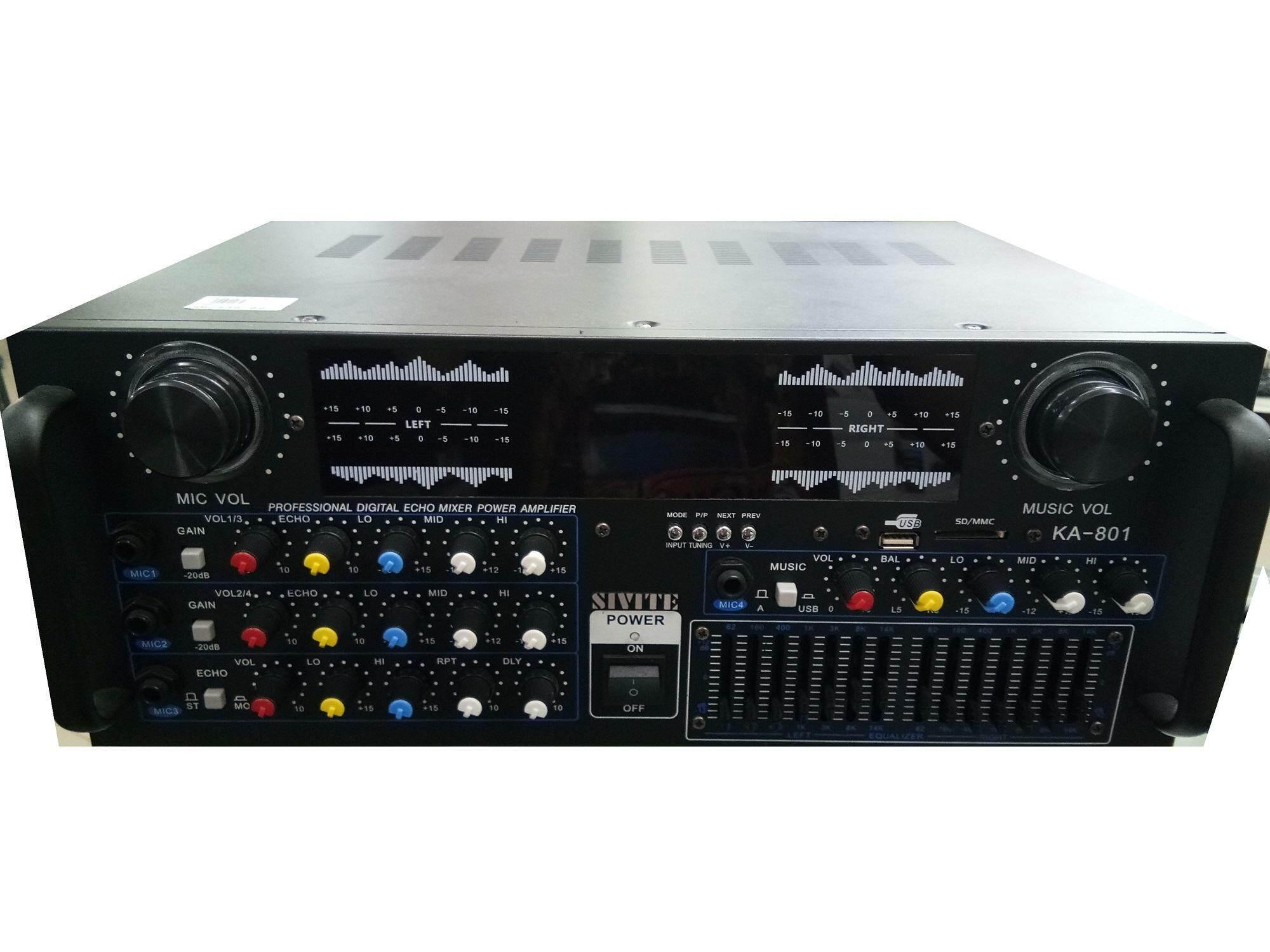 Features 220v Bluetooth 500w Karaoke Power Stero Amplifier With Vu Meter For Amplifiers Ka801 Professional Stereo Digital Echo Mixer Usb Sd Fm