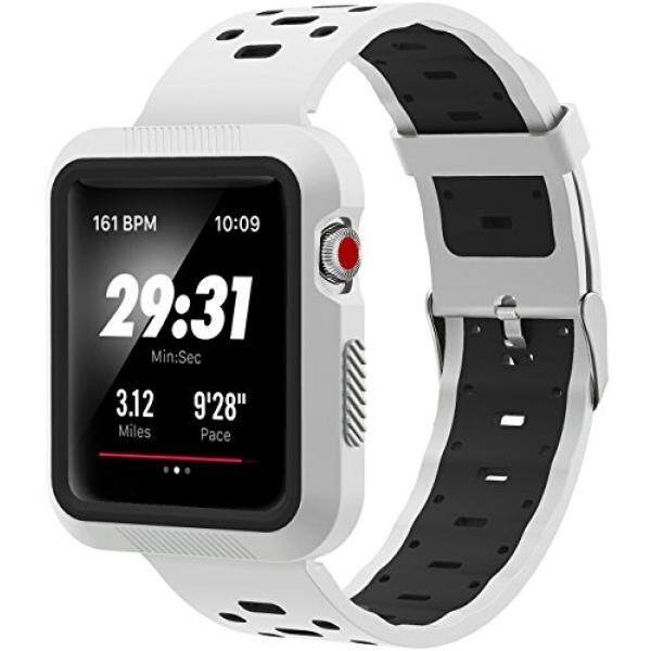 SELLERS360 for Apple Watch Band 42mm with Case for Series 1 Series 2 Series 3,Soft Durable Nike + Sports Edition Replacement Wrist Strap for iWatch 42mmM/L (White / black 42mm) - intl